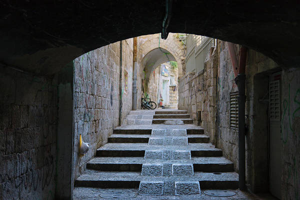 Old Jerusalem Photograph - Ancient Street In The Old Town by Keren Su