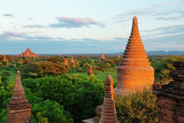 Bagan Photograph - Ancient Temples And Pagodas At Sunset by Keren Su