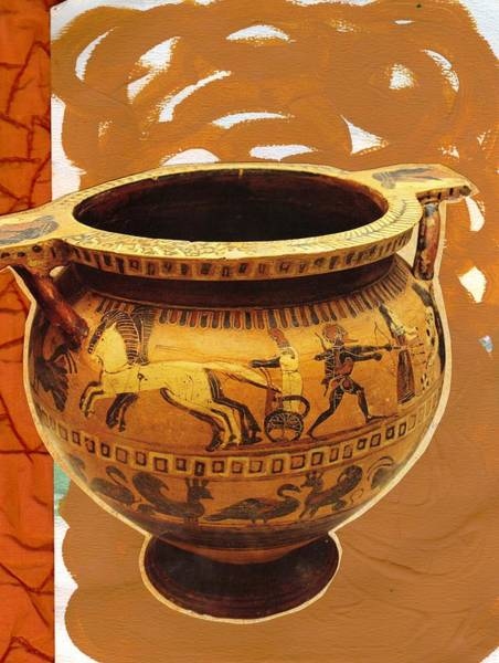 Olden Mixed Media - Ancient Urn Collage by Anne-Elizabeth Whiteway