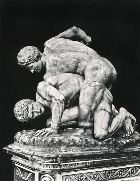 Wall Art - Photograph - Ancient Wrestling Sculpture by Underwood Archives