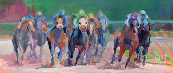 Thoroughbred Racing Wall Art - Painting - And Down The Stretch They Com by Kimberly Santini