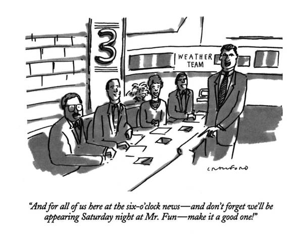 Clock Drawing - And For All Of Us Here At The Six-o'clock News - by Michael Crawford