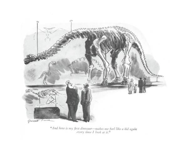 Dinosaurs Drawing - And Here Is My ?rst Dinosaur - Makes Me Feel Like by Garrett Price
