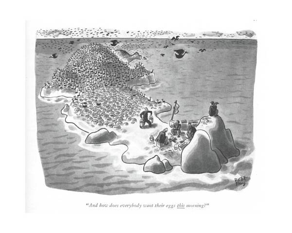 Wall Art - Drawing - And How Does Everybody Want Their Eggs This by Robert J. Day