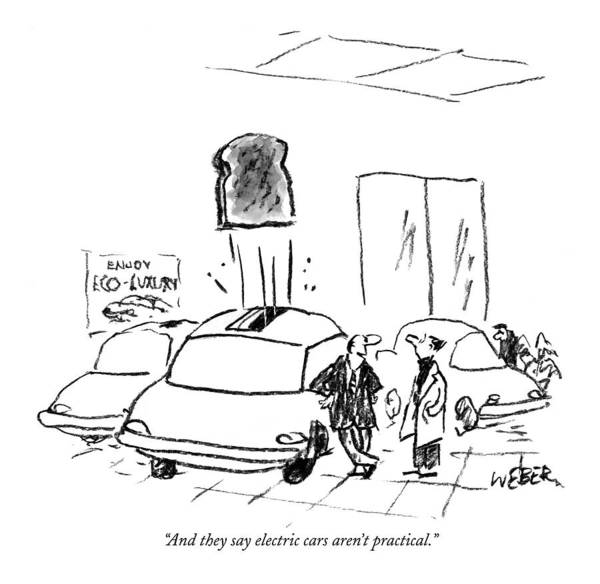 Shopping Drawing - And They Say Electric Cars Aren't Practical by Robert Weber