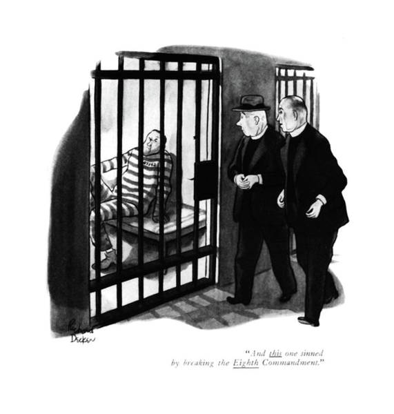 Mugging Drawing - And This One Sinned By Breaking The Eighth by Richard Decker