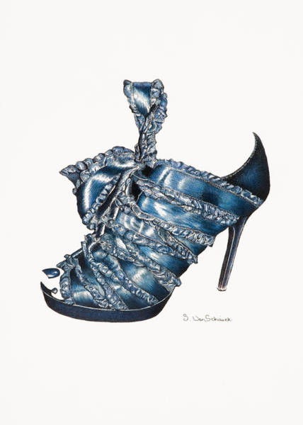Pump Drawing - ...and Toes To Match - Blue by Sherri Vanschaick
