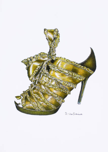 Pump Drawing - ...and Toes To Match - Golden by Sherri Vanschaick