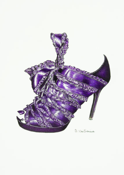 Pump Drawing - ...and Toes To Match - Purple by Sherri Vanschaick