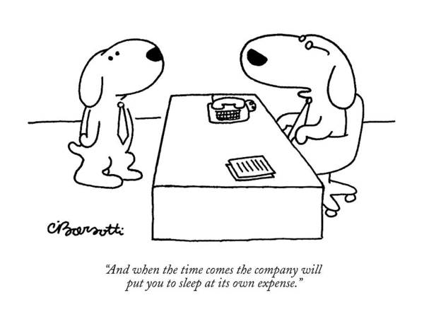Medical Care Drawing - And When The Time Comes The Company Will Put by Charles Barsotti