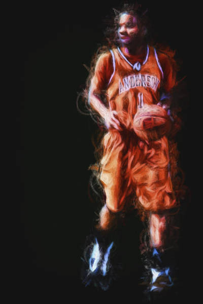 Photograph - Anderson University Indiana Point Guard Painted Digitally by David Haskett II