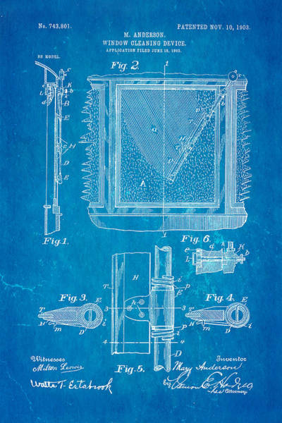 Fitter Photograph - Anderson Windshield Wiper Patent Art 1903 Blueprint by Ian Monk