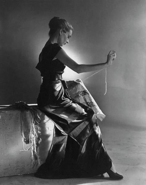 Photograph - Andrea Johnson Wearing A Striped Dress by Cecil Beaton