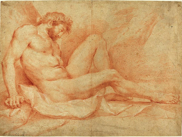 Wall Art - Drawing - Andrea Sacchi, Italian 1599-1661, Academic Nude Study by Litz Collection