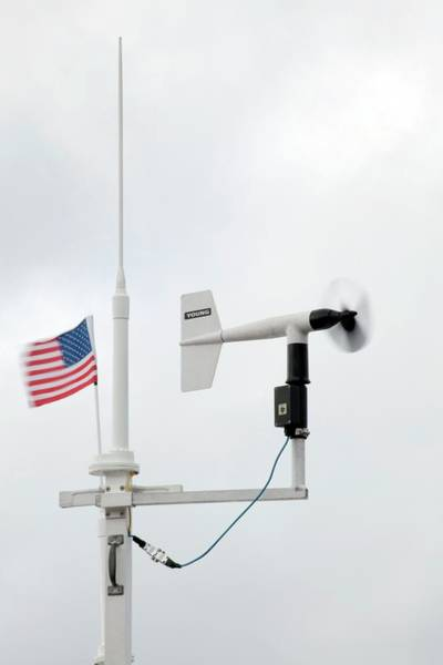 United States Territory Photograph - Anemometer And Us Flag by Jim Edds/science Photo Library