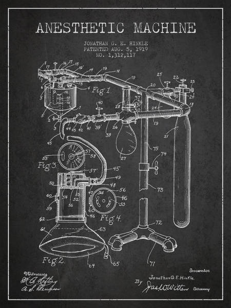 Machines Digital Art - Anesthetic Machine Patent From 1919 - Dark by Aged Pixel