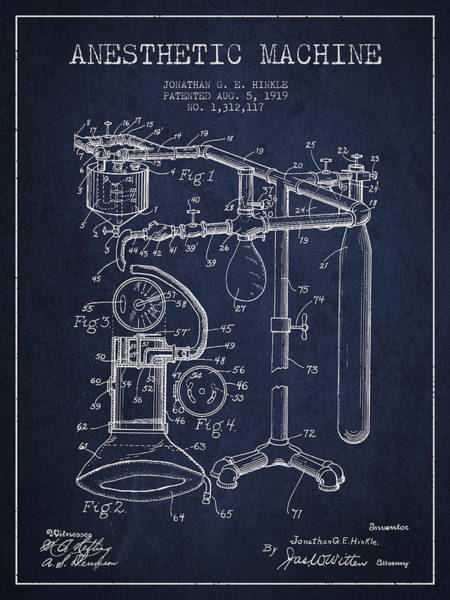 Wall Art - Digital Art - Anesthetic Machine Patent From 1919 - Navy Blue by Aged Pixel