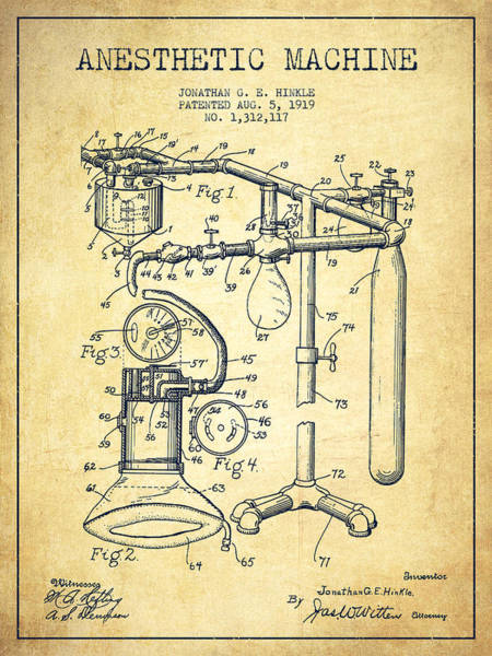 Machines Digital Art - Anesthetic Machine Patent From 1919 -vintage by Aged Pixel