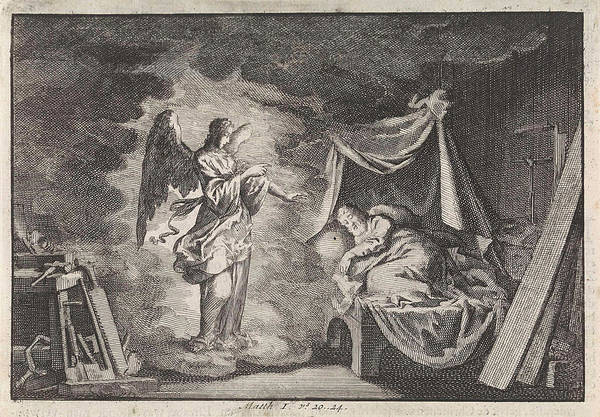 Pregnancy Drawing - Angel Appears To Joseph In His Carpentry Workshop by Jan Luyken And Pieter Mortier
