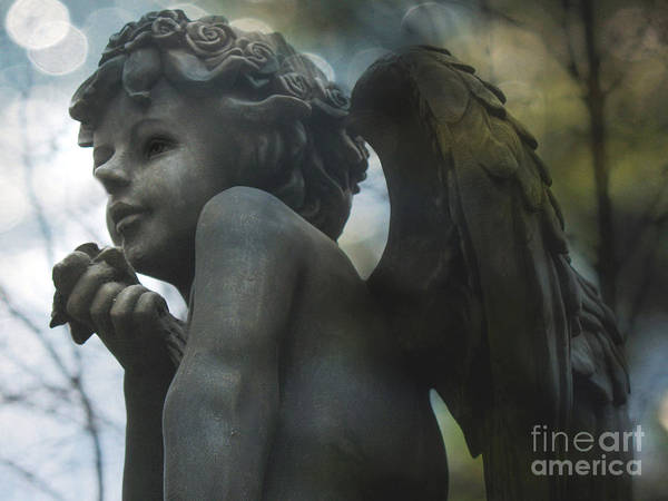Ethereal Photograph - Angel Art Child Angel Wings Ethereal Dreamy Child Cherub Angel Holding Rose by Kathy Fornal