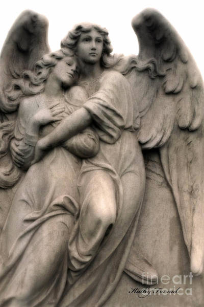 Loving Photograph - Angel Photography Guardian Angels Loving Embrace by Kathy Fornal