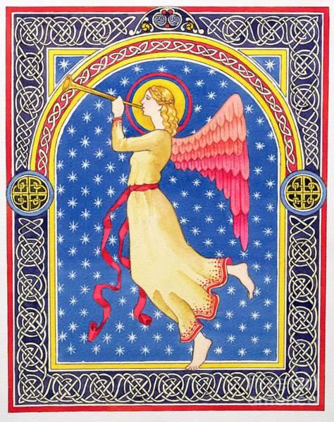 Merry Christmas Painting - Angel Blowing Trumper by Lavinia Hamer
