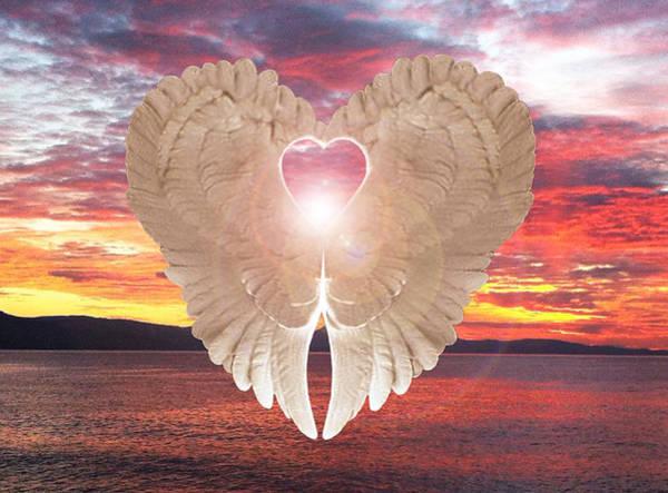 Digital Art - Angel Heart At Sunset by Eric Kempson