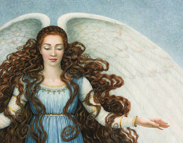 Angel In A Blue Dress Art Print