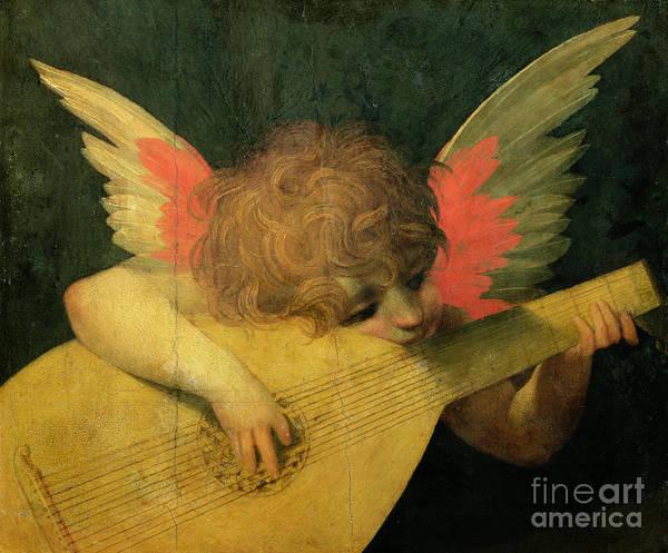Putto Painting - Angel Musician by Giovanni Battista Rosso Fiorentino