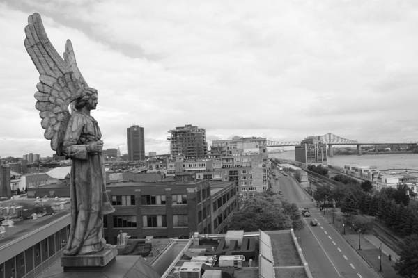 Photograph - Angel Of Old Montreal In Black And White by Alice Gipson