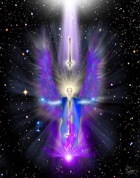 Digital Art - Angel Of The Violet Flame by Endre Balogh