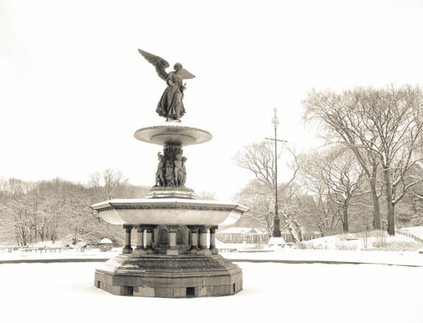 Bethesda Fountain Photograph - Angel Of The Waters - Central Park - Winter by Vivienne Gucwa