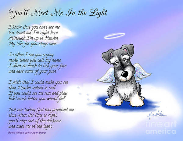 Angel Schnauzer With Poem Art Print by Kim Niles
