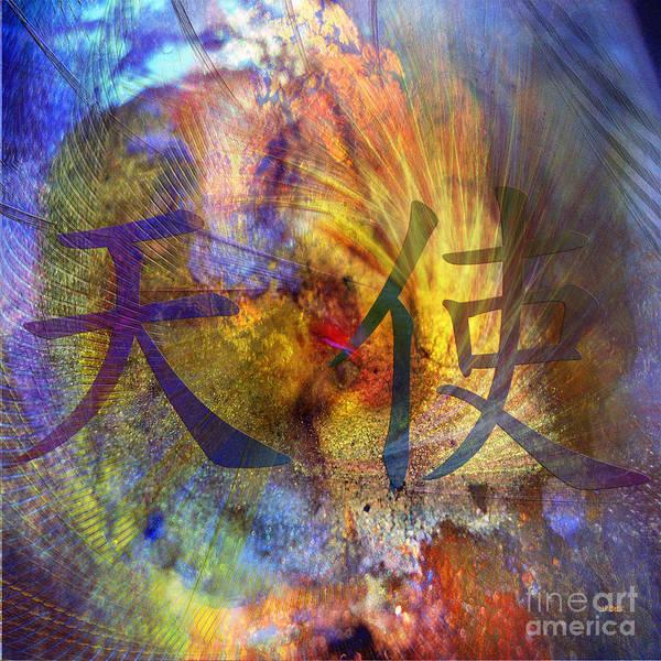 Kanji Digital Art - Angel - Square Version by John Beck