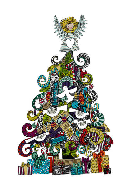 Holiday Drawing - Angel Tree by MGL Meiklejohn Graphics Licensing
