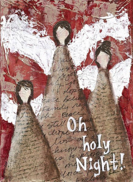 Wall Art - Mixed Media - Angel Trio by Kirsten Reed