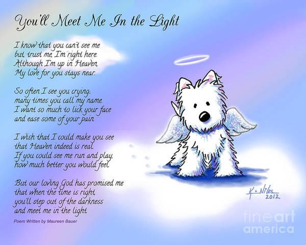 Terrier Digital Art - Angel Westie With Poem by Kim Niles