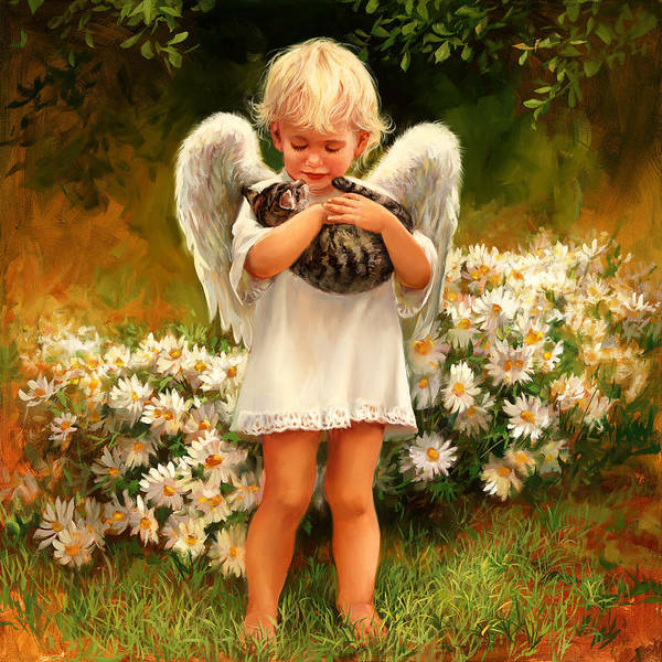Infant Painting - Angel With Cat by Laurie Snow Hein
