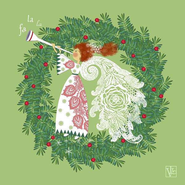 Christmas Digital Art - Angel With Christmas Wreath by Valerie Drake Lesiak