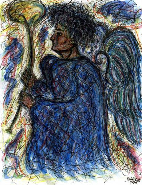 Abstract Expressionist Drawing - Angel With Horn by Rachel Scott
