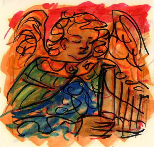 Drawing - Angel With Pipes - Orange by Rachel Scott