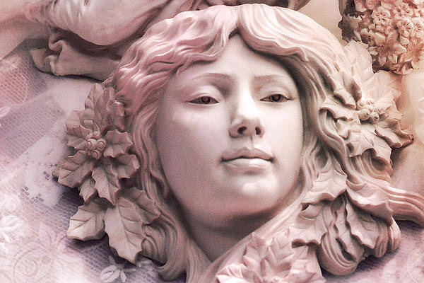 An Photograph - Angelic Female Face Portrait Sculpture Art Deco - Dreamy Pink Angel Face by Kathy Fornal