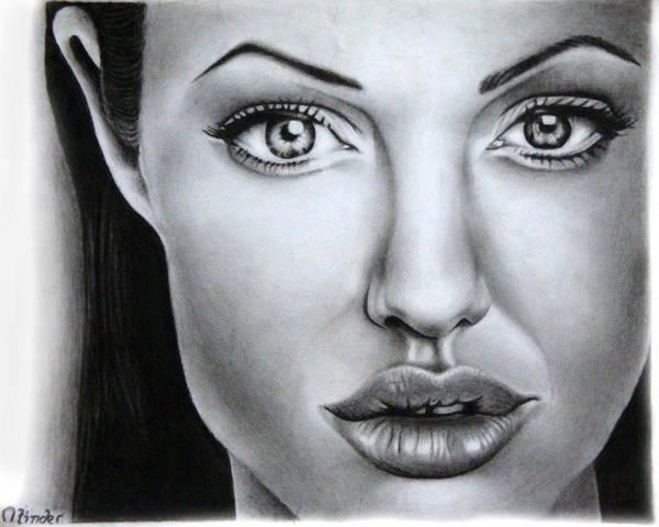 Singh Drawing - Angelina Jolie by Atinderpal Singh