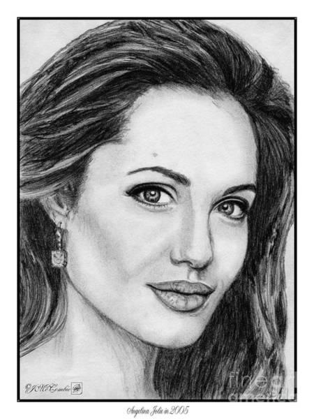 Wall Art - Drawing - Angelina Jolie In 2005 by J McCombie