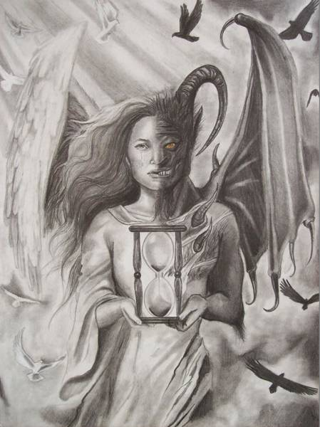 Amber Drawing - Angels And Demons by Amber Stanford