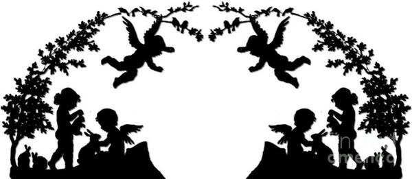 Digital Art - Angels Bird Bunnies And Boughs Silhouette by Rose Santuci-Sofranko