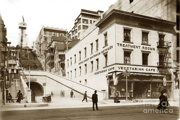 Photograph - Angel's Flight Railway Los Angeles California  Circa 1908 by California Views Archives Mr Pat Hathaway Archives