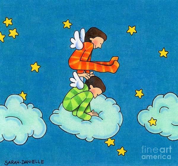 Nursery Drawing - Angels Play by Sarah Batalka
