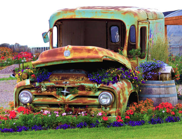 Ford Van Photograph - Angies Flower Truck by Karon Melillo DeVega