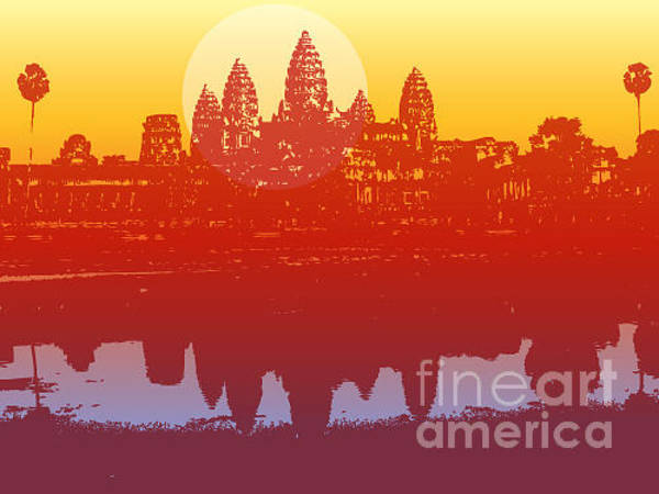 Buildings Digital Art - Angkor Wat In Sunset Vector - by Fat fa tin